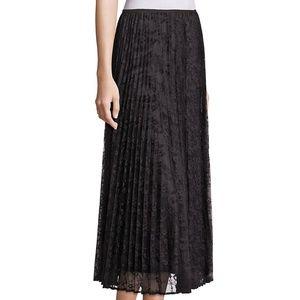 Lafayette 148 Black Lace Pleated Midi Skirt